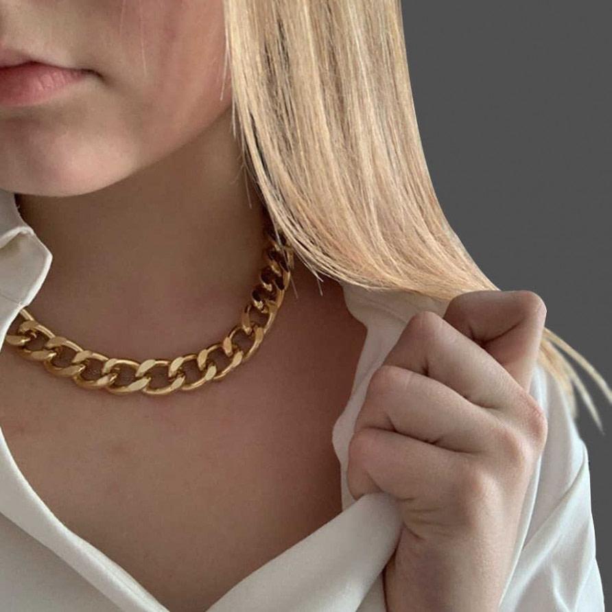 neu Frauen Thick Kubanischen Link Kette Choker Halsketten für Männer  - hip hop frisuren männer