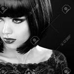 Retro Frauenportrait Mode Modell Mädchen Gesicht Bob Frisur Schwarz Weiß Foto