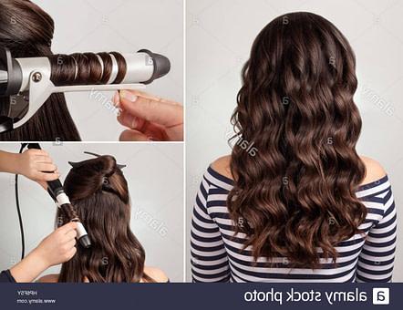 Erstellungsprozess locken. lange lockige Haare. Frisur für lange