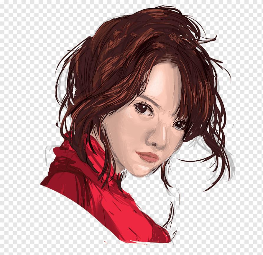 Rote Klippe rote Haare zeichnen Haarfärbung, Aquarell Klippe, Pony