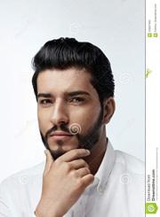 neu Schönheit Mann Mit Frisur Und Bart-Porträt Stattlicher Mann